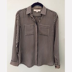 LOFT Striped Long Sleeve Button Down Blouse